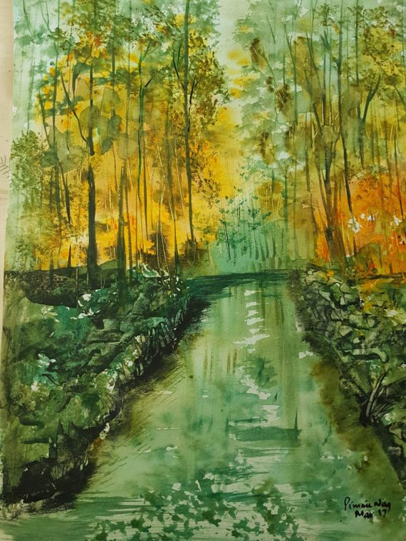 Sunset in a Forest by ChezPimmi on Etsy