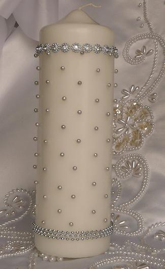 Silver and Crystal Rhinestone Wedding Candle