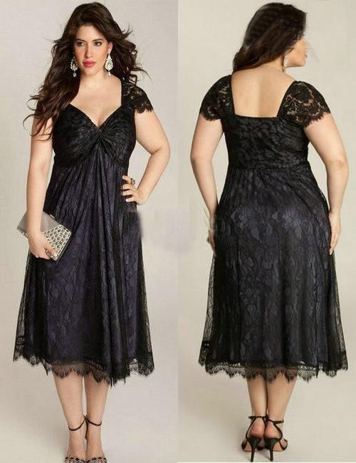 Custom plus size tea length black lace mother of the bride for Plus size black dresses for weddings