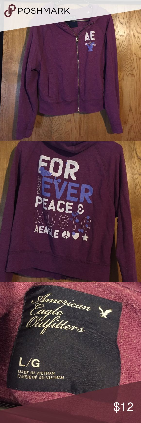 Purple zip up In good condition. Very cute American Eagle Outfitters Tops Sweatshirts & Hoodies