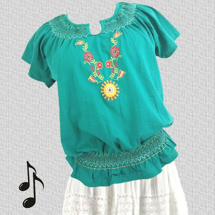 Peasant Top Sz L Embroidered Green Cotton Smocked Neckline & Waist by Contact NY #ContactNY #Embroidered #Casual