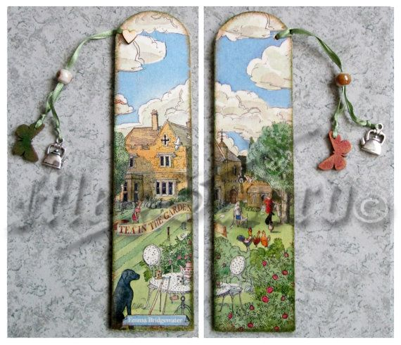 WOODEN BOOKMARK handmade decoupage one copy by MEGSWORD on Etsy