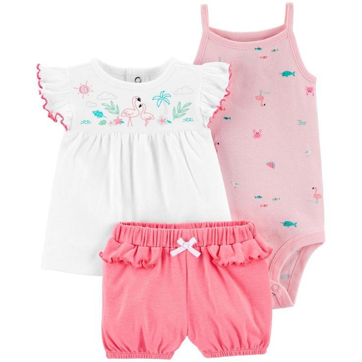 baby girl carters 3 piece flamingo summer set kinderkleidung