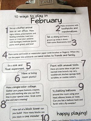 Monthly calendars with fun ideas of things to do with the kids.