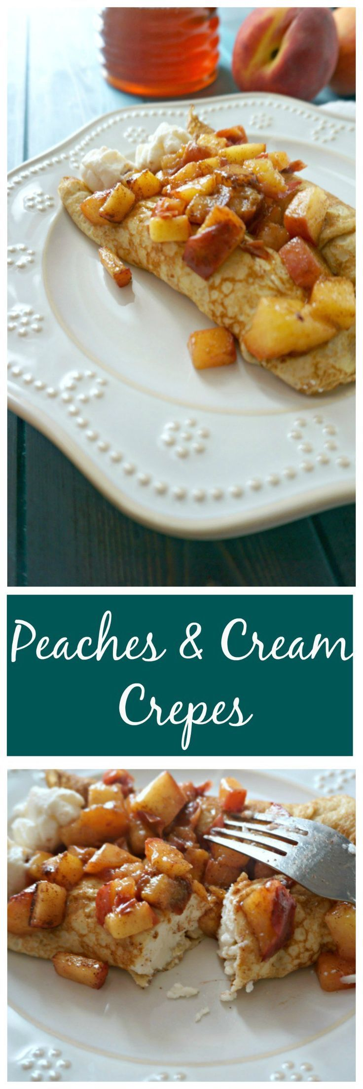 Peaches and Cream Crepes: Tender, whole wheat crepes are filled with a ...
