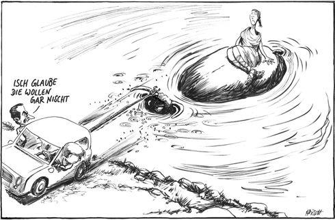 """Zeus et Europe, prendre le taureau par les cornes / 28 octobre 2010 / Horsch pour le """"Süddeutsche Zeitung"""" / La chancelière allemande Angela Merkel et le président français Nicolas Sarkozy veulent sortir l'Europe du risque de nouvelle crise financière. Mais en proposant la manière forte, sanctions à l'appui, s'y prennent-ils comme il faut pour convaincre leurs partenaires ?"""