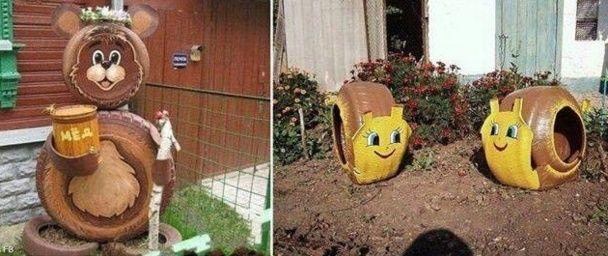 Cr ations artistiques pneus recycl s le jardin des 4 saisons pinterest - Decoration jardin avec des pneus ...