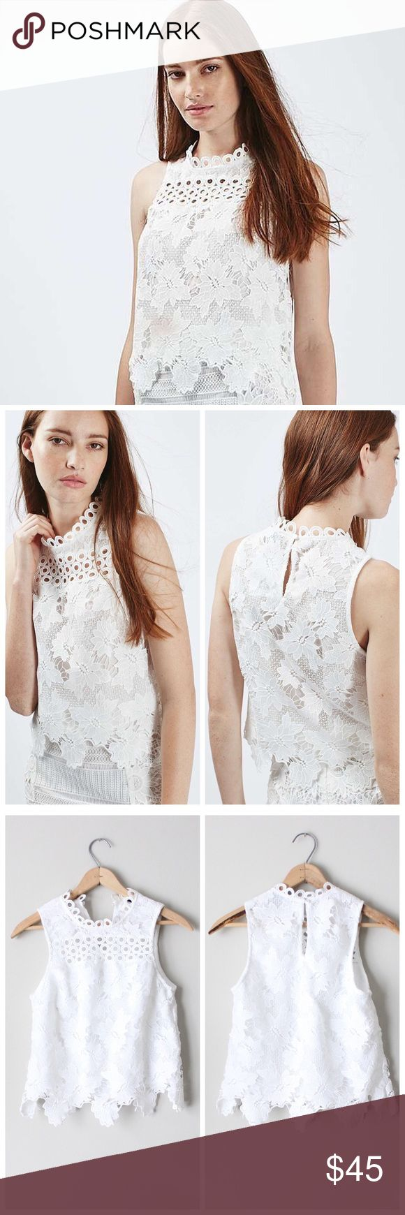 Panel Sleeveless Lace Shell Top Stunning white lace top. In excellent gently used condition. Topshop Tops