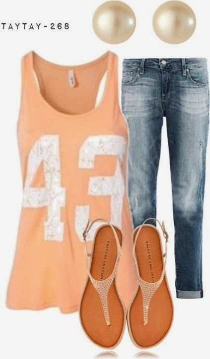 Adorable teen sleeveless t shirt and blue jeans