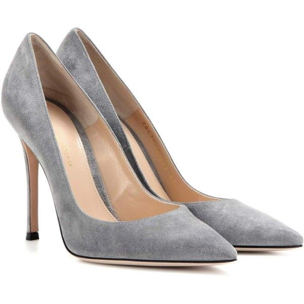 Gianvito Rossi Gianvito 105 Suede Pumps ($665) ❤ liked on Polyvore featuring shoes, pumps, heels, zapatos, grey, heel pump, gianvito rossi, gray shoes, suede shoes and grey heeled shoes