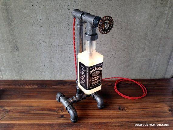 Jack Daniels lámpara de botella estilo por newwineoldbottles