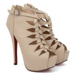 Party Women's Peep Toed Shoes With Stylish Hollow Out and Zipper Design
