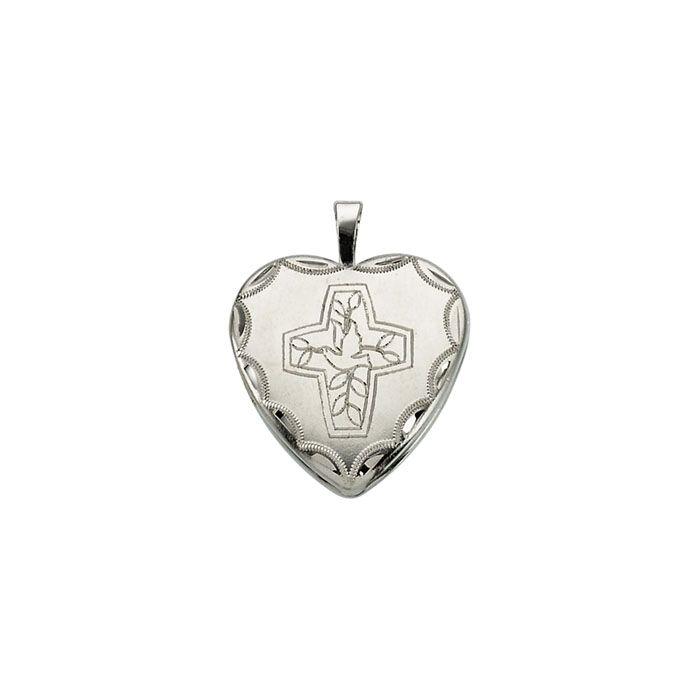 Zilveren Hart Medaillon met Kruisje en Duif