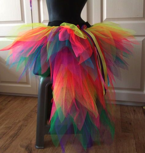 Ladies-bustle-TUTU-Carnival-8-14-NEON-MULTi-festival-SKIRT-RAINBOW-PRIDE