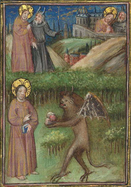 Missal of Eberhard von Greiffenklau, Temptations of Christ by the Devil, Walters Manuscript W.174, fol. 31r detail by Walters Art Museum Illuminated Manuscripts, via Flickr