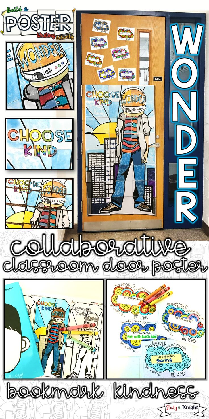 Wonder | English language arts | ELA | middle school | upper elementary | Wonder, kindness, and building a classroom community around this novel study will bring enthusiasm to your reading and writing lessons. Your Wonder classroom door poster is the perfect exhibit of collaboration, kindness, anti-bullying, respect, and our favorite character, Auggie! Wonder is also a great read aloud | Wonder classroom door poster, words of kindness writing, and reading bookmark.