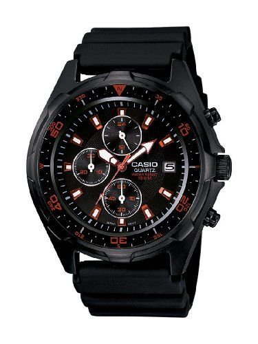 Casio Men's AMW370B-1A1 Black Analog Multi-Function Watch Casio. $84.10. Water-resistant to 100 M (330 feet). Black ip stainless steel case and resin band. Rotating bezel, scew lock case back. Black dial with date window at 3 o'clock. Stopwatch;24 h hand