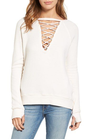 Pam & Gela Lace-Up Pullover available at #Nordstrom