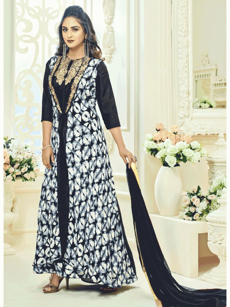Black And White Detail Embroidered Koti Style Pant Suit