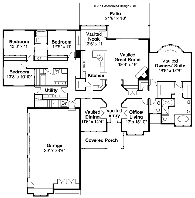 21 best images about 4 bedroom house plans on pinterest for 4 bedroom ranch floor plans