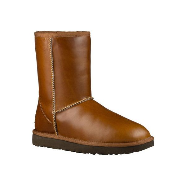 Women's UGG Classic Short Leather Boot - Chestnut Casual ($175) ❤ liked on Polyvore featuring shoes, boots, brown, casual, winter boots, brown leather boots, short leather boots, short ankle boots and short brown boots