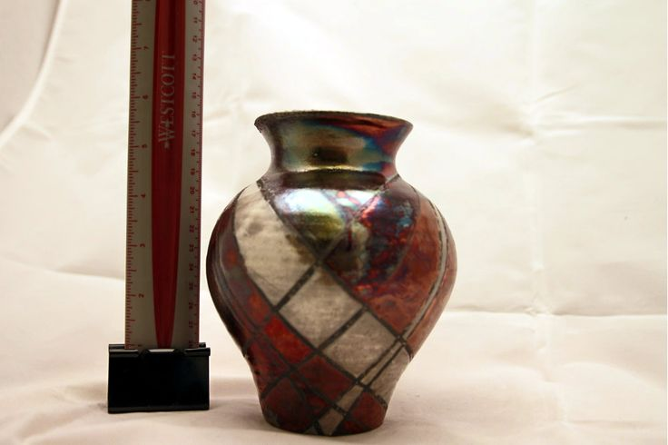 Metallic Red, Green, Blue, and White Pottery Vase by LadybugSoapworks on Etsy