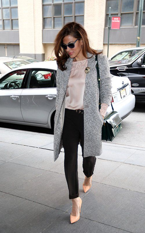Light grey and white fleck chic overcoat