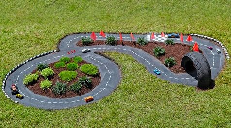 It would be fun to have a tiny race track outside for the kids toy cars
