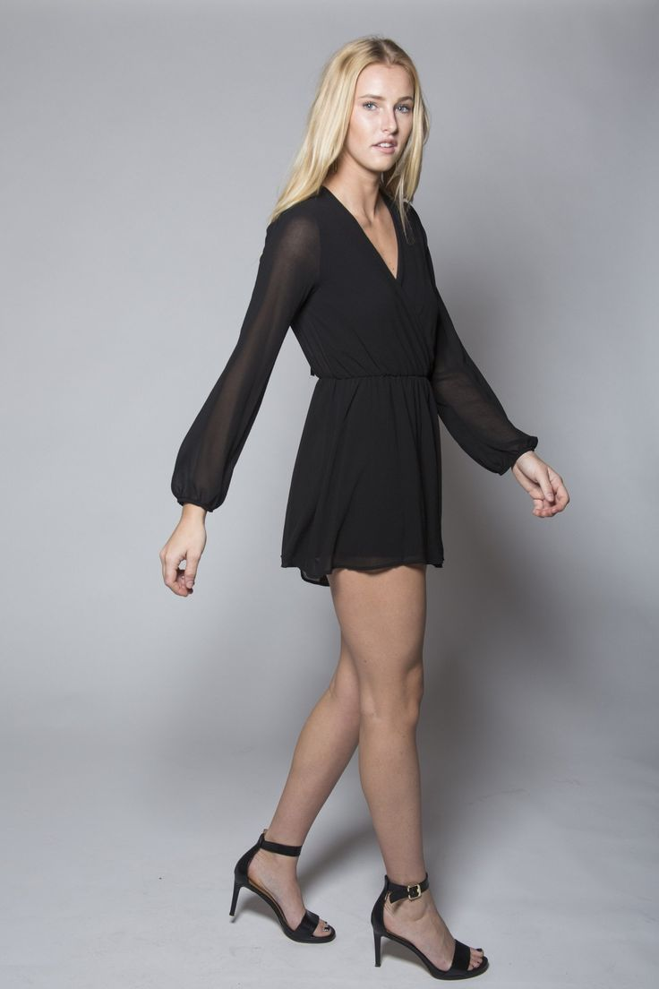 Rompers are just so darn comfortable! But this one by Mod & Soul is also super chic! the black color and the chiffon fabric make it a classic !Angie Chiffon Romper - Mod and Soul #romper