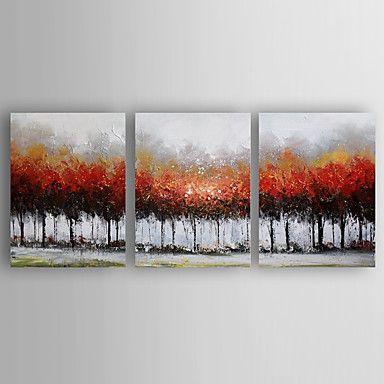 pintura a óleo set impressão de paisagem, de 3 de mão lona pintadas com esticada emoldurado pronto para pendurar de 4987119 2016 por R$378,53