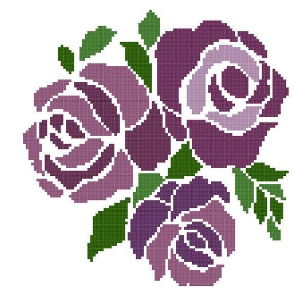 Purple+Roses+Cross+Stitch+by+MartisXSDesigns+on+Etsy flower
