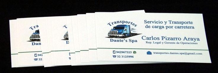 Tarjetas de presentación, solicitadas por Transporte Dante's Spa. Diseños e Impresiones Peña #dimpena #valparaiso #chile #businesscard