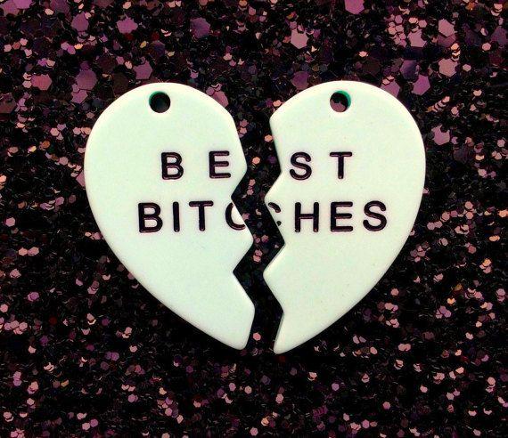 Best Bitches Broken Heart Resin Charms Pendants   35mm