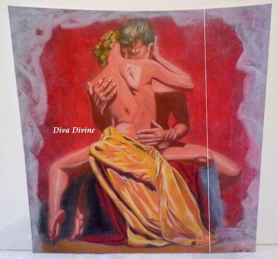 Pastel Sec pour Tableau Romantique, Erotique * PASSION * - Création Originale : Accessoires de maison par diva-divine