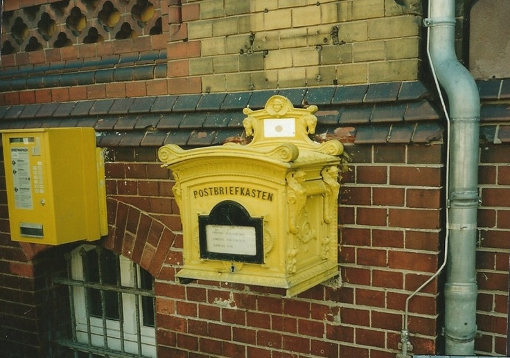 Wonderful caste iron German mail box with ornate designs, Salzwedel, Germany. DSMc.2001