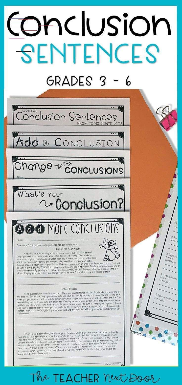 Conclusions in Paragraph Writing for 3rd - 6th Grades This Conclusion  Sentences set contains worksheets [ 1558 x 736 Pixel ]