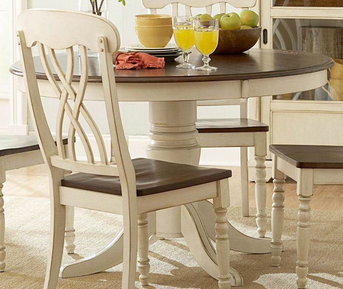 $463   Homelegance Ohana 48 Inch Round Dining Table in Antique White