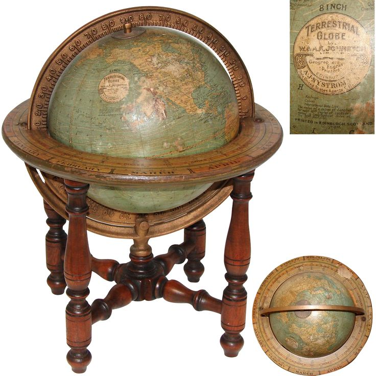 Fab Vintage W   AK Johnston  Edinburgh  15  Tall Terrestrial Globe  Turned. 3289 best Antiques at home images on Pinterest   Antique wood