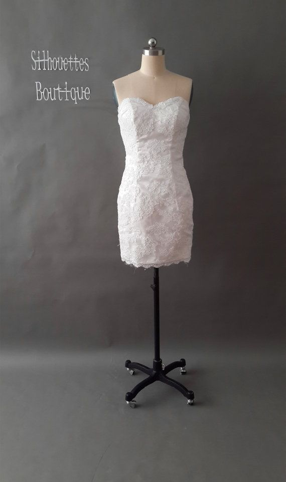 Short White Lace Wedding Dress Ivory Lace by SilhouettesBoutique