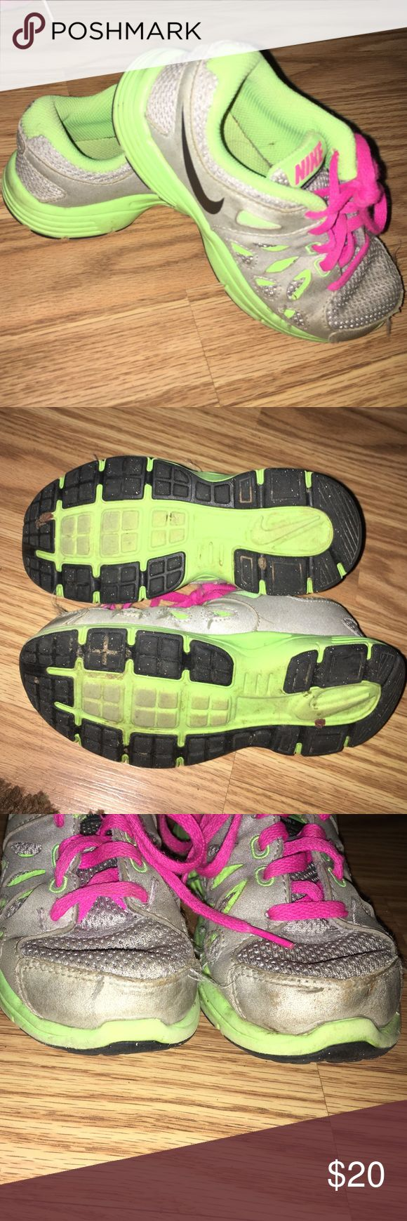 Nike girls tennis shoes Gently worn. Some wear on toes. Many more miles left on these! Nike Shoes Sneakers