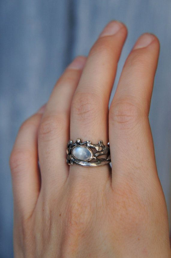 Moonstone ring twig ring branch ring sterling by TheManerovs
