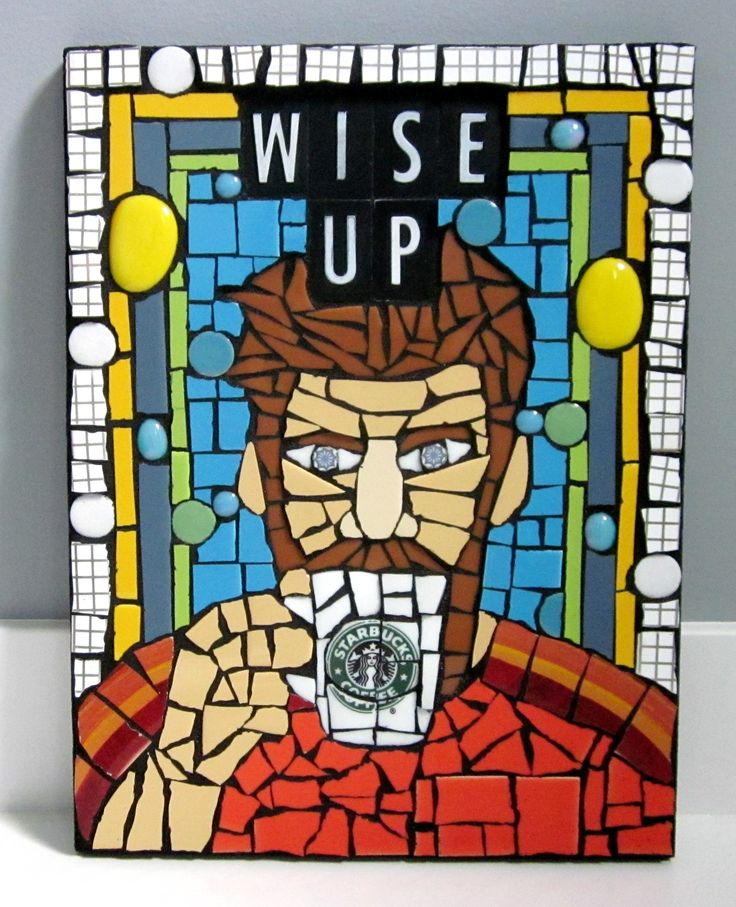 WISE UP! handmade mixed media starbucks coffee mosaic by shawn dubois home décor contemporary art