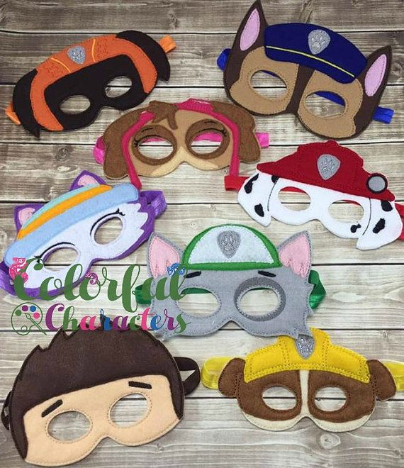 Paw Patrol Felt Masks, pretend play, pups, party favors, dress up, made to order, stocking stuffers, party favors, costume party masks