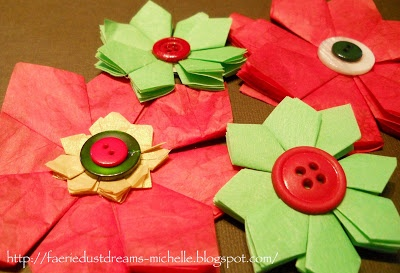 Faerie * Dust * Dreams: 10 minute tissue paper  Handmade Christmas Decorations