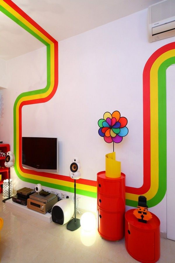 Colorful Flower Ornament Yellow Bookcase White Orange Chair Black Sofa Red Furniture In Rasta Colors Living Room RAINBOW House The Fetching Vivid