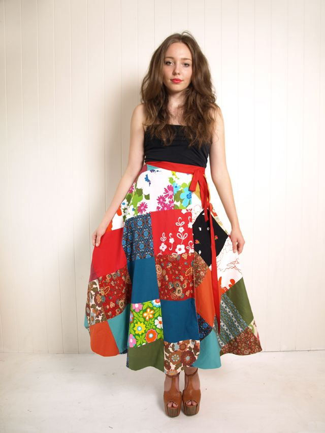 I would not wear this at my age but this is adorable.  --  Half circle reversible wrap skirt