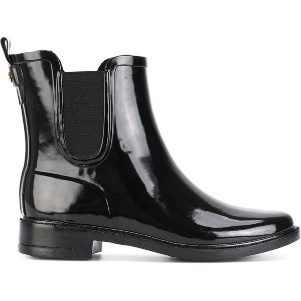 Tory Burch rain boots ($223) ❤ liked on Polyvore featuring shoes, boots, black, tory burch shoes, black shoes, tory burch, rain boots and black boots