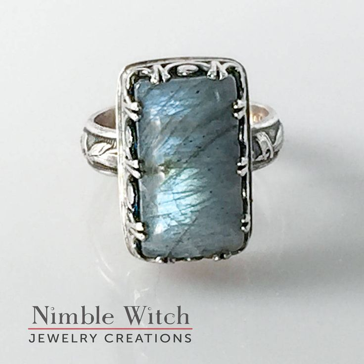 Blue labradorite ring, aqua blue gemstone ring in sterling silver, aged vintage look, boho style artisan ring, designer ring by Nimble Witch by NimbleWitchCreative on Etsy