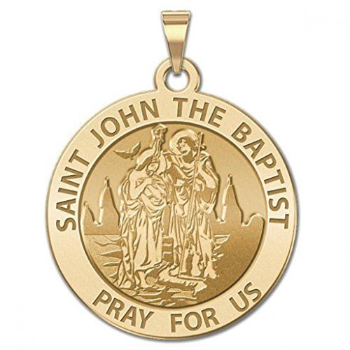 CHAIN IS NOT INCLUDED Available in Solid 14K Yellow or White Gold or in Sterling Silver Size Reference: 17mm is the size of a US dime 21mm is the size of a US nickel 24mm is the size of a US quarter The Medal depicts St. John The Baptist baptizing Jesus with the Holy Spirit approaching. Saint John the Baptist is the patron saint of Puerto Rico and its capital city San Juan bears his name. In 1521 the island was given its formal name San Juan Bautista de Puerto Rico following the usual custom…