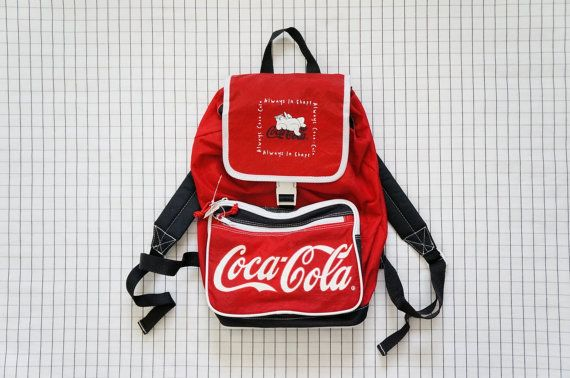 90's Backpack, Red Coca Cola Backpack, Aesthetic, Tumblr, Vintage Coca Cola, Cyber